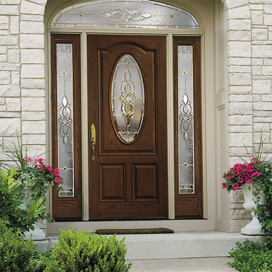 Architect Series 3 Panel Scroll Top Oval Entry Door with Glass